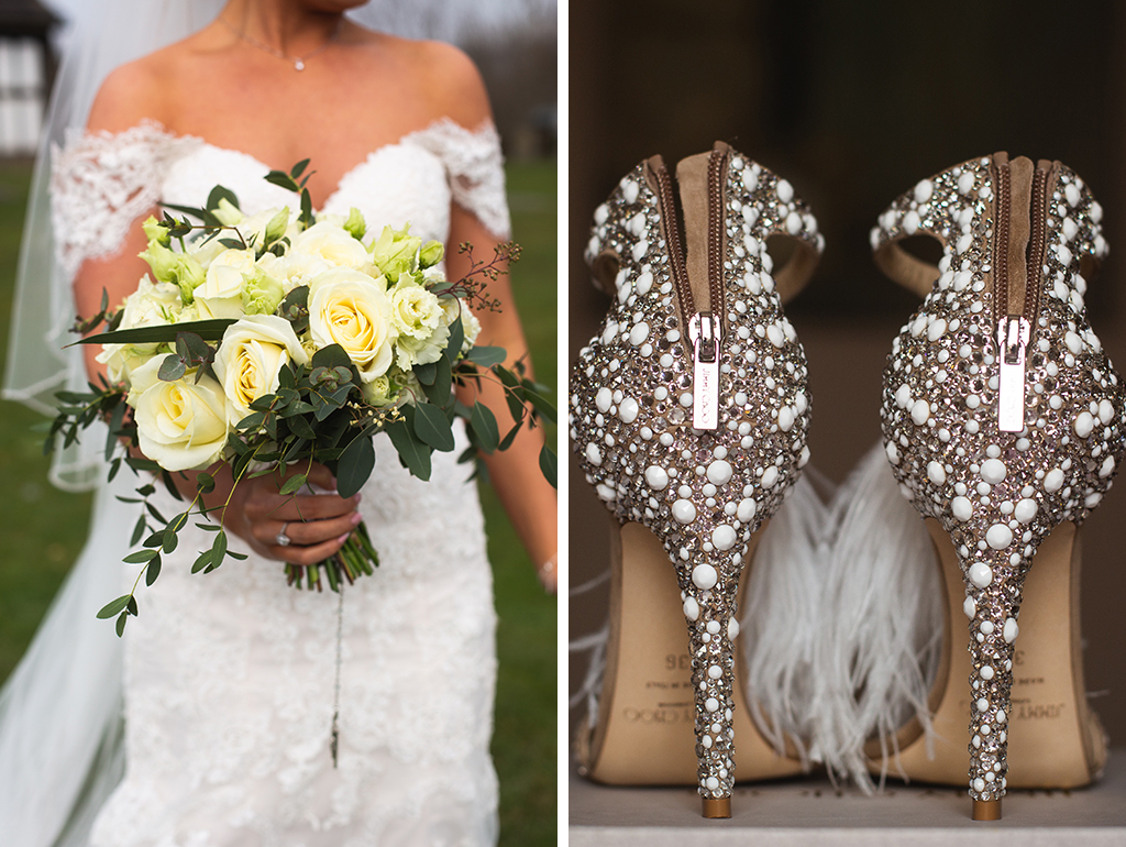 The bride's bouquet was made of beautiful cream roses and lush foliage and her stunning Jimmy Choo wedding shoes were embellished with beads and feathers at his barn wedding in Cheshire
