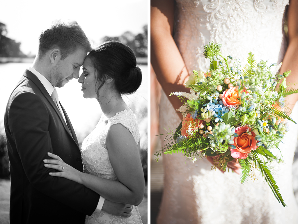 The bride and groom take a moment and the bride's bouquet was made of pretty coral pink roses, delicate blue flowers and astilbe at this barn wedding in the north west