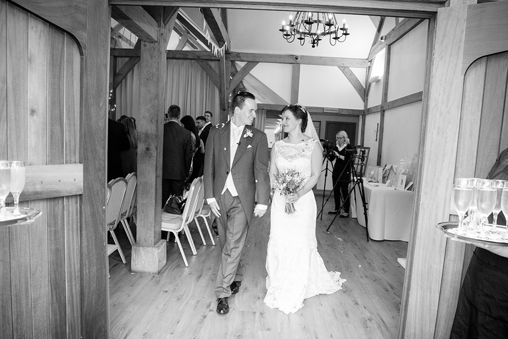 Reception drinks await the newly married couple at Sandhole Oak Barn in Cheshire