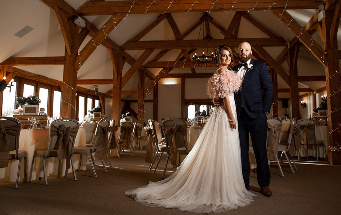 bride and groom oak barn cheshire wedding venue