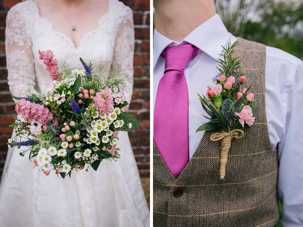 The bridal bouquet was a pretty mix of daisies and pretty spring flowers at this barn wedding in Cheshire