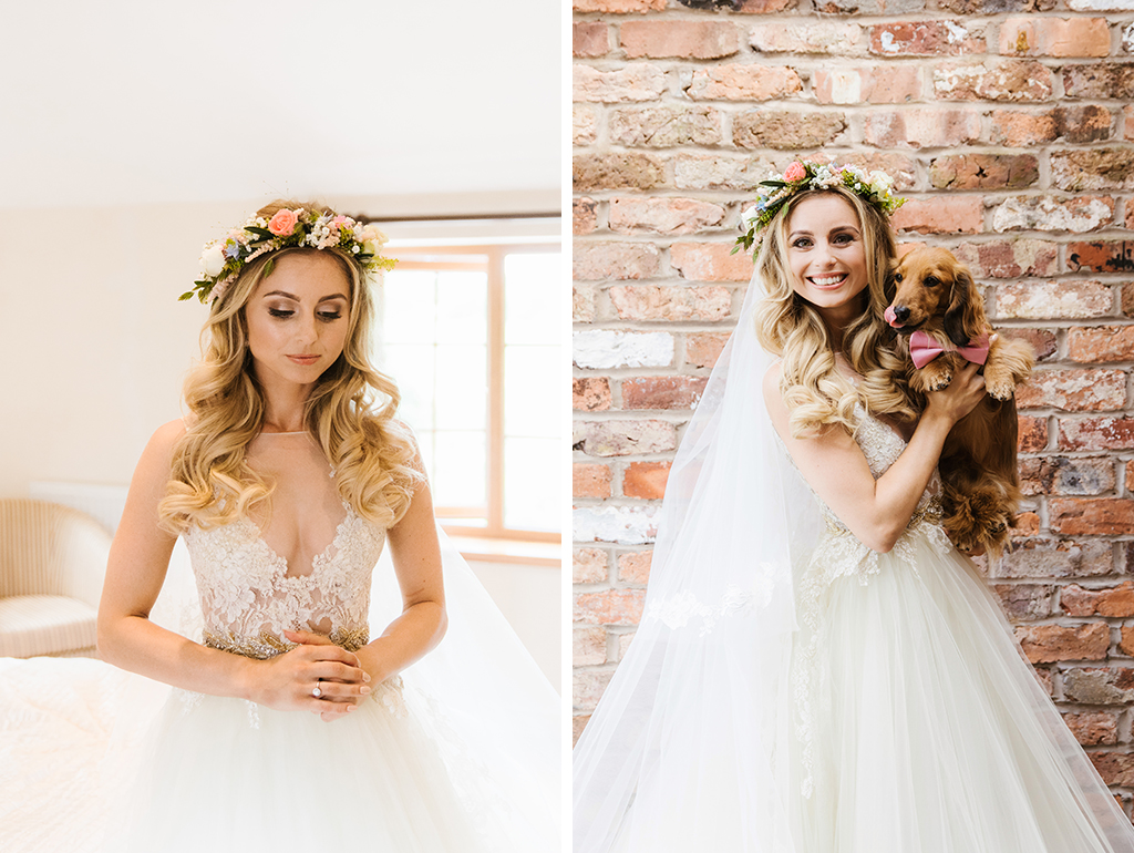 The bride wore a stunning lace top wedding gown with a magnificent tulle skirt and a pretty floral crown