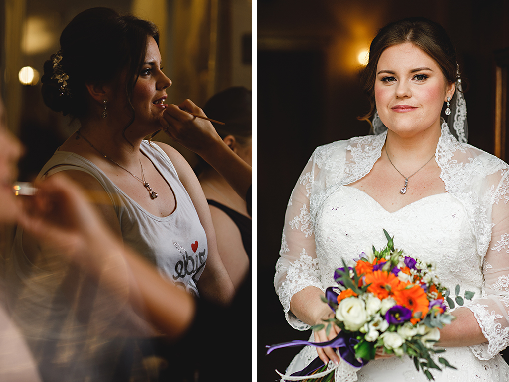 The brides make-up was kept beautifully natural and she wore a delicate lace bolero with a sweetheart wedding dress