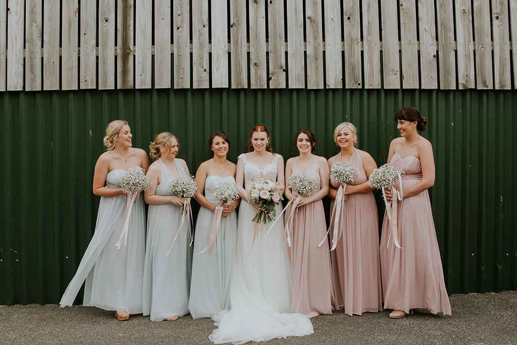 Blush prink bridesmaids dresses are the perfect choice for a spring wedding at Sandhole Oak Barn in Cheshire