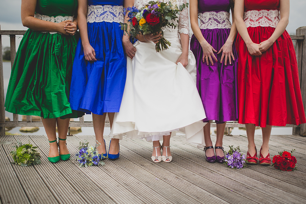 The bridesmaids each wore a different coloured dress with their own style shoes and a bouquet to match at their wedding