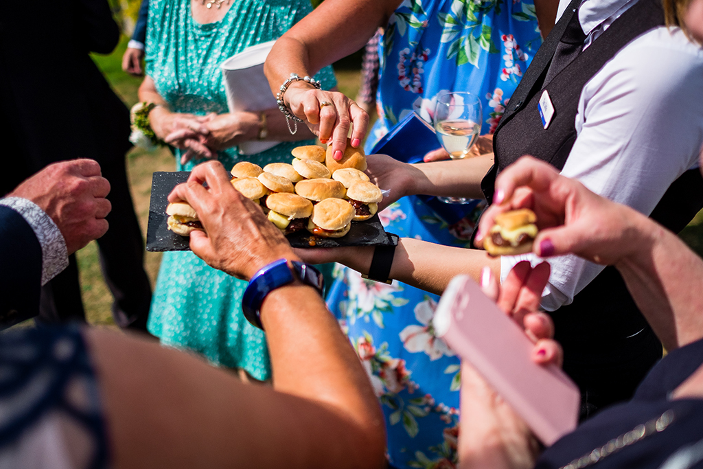 Mouth watering canapes were served at the drinks reception at this spring wedding at Sandhole Oak Barn