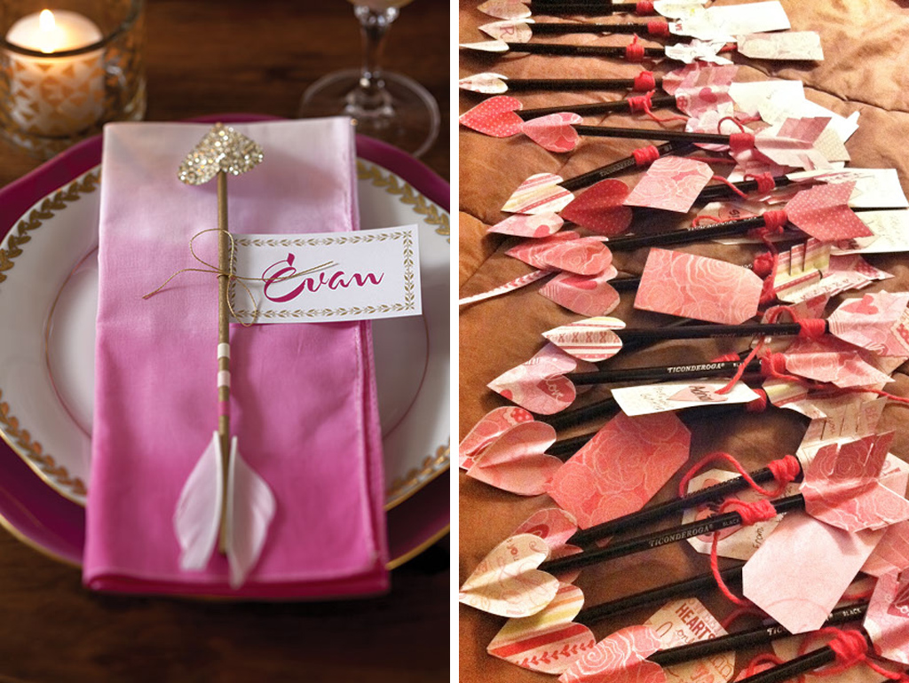 Cupids arrows make perfect valentine place setting decoration for your barn wedding at Sandhole Oak Barn