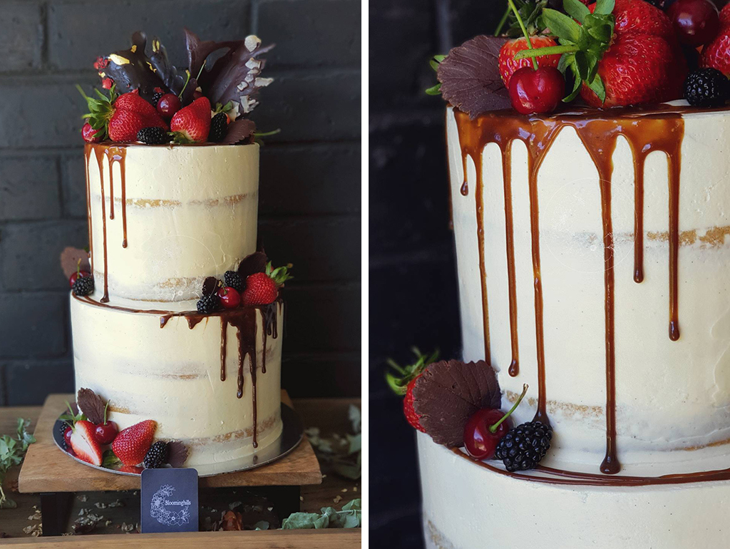 This delicious looking semi naked wedding cake would an ideal choice for a barn wedding in Cheshire