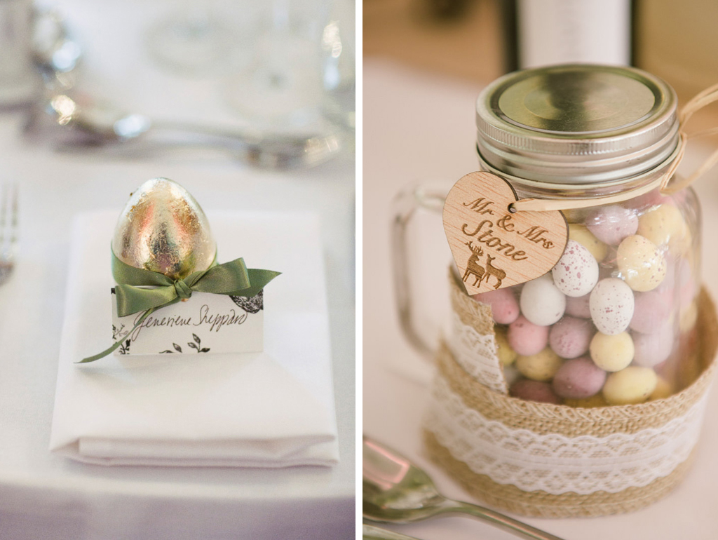 Mini chocolate eggs make perfect favours for a spring wedding at Sandhole Oak Barn