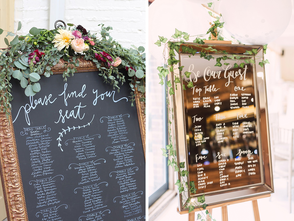An elegant framed table plan is perfect for a barn wedding wedding in Cheshire