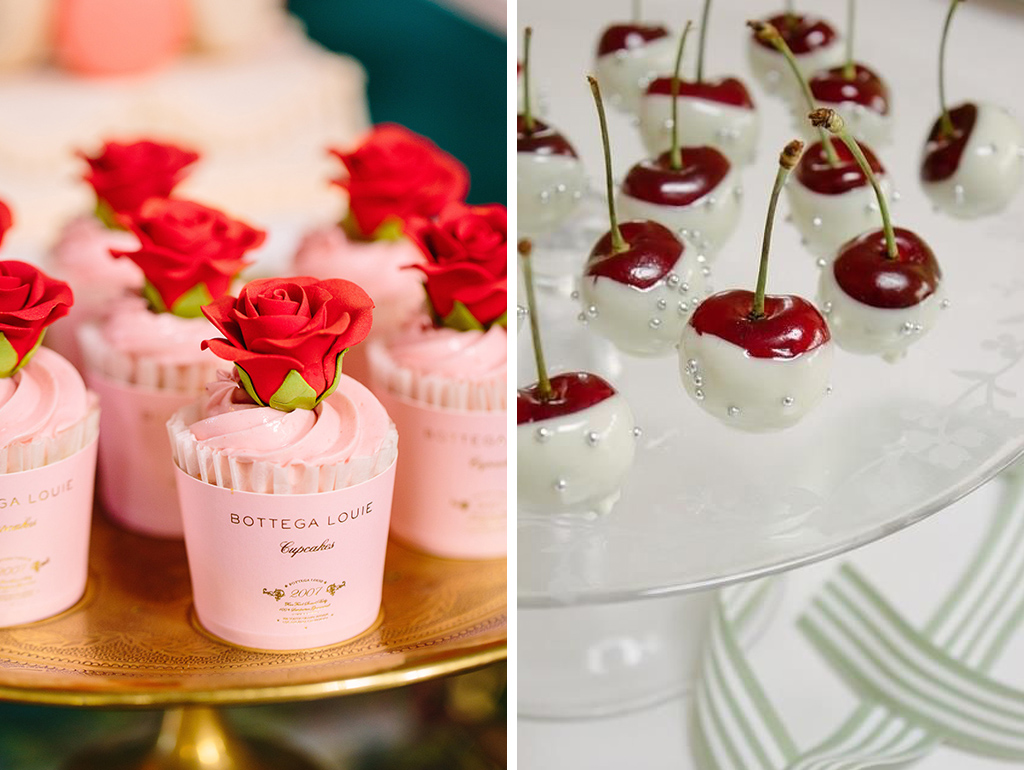 Pretty iced pink cupcakes or dipped cherries are the perfect valentine treat for your wedding at Sandhole Oak Barn in Cheshire