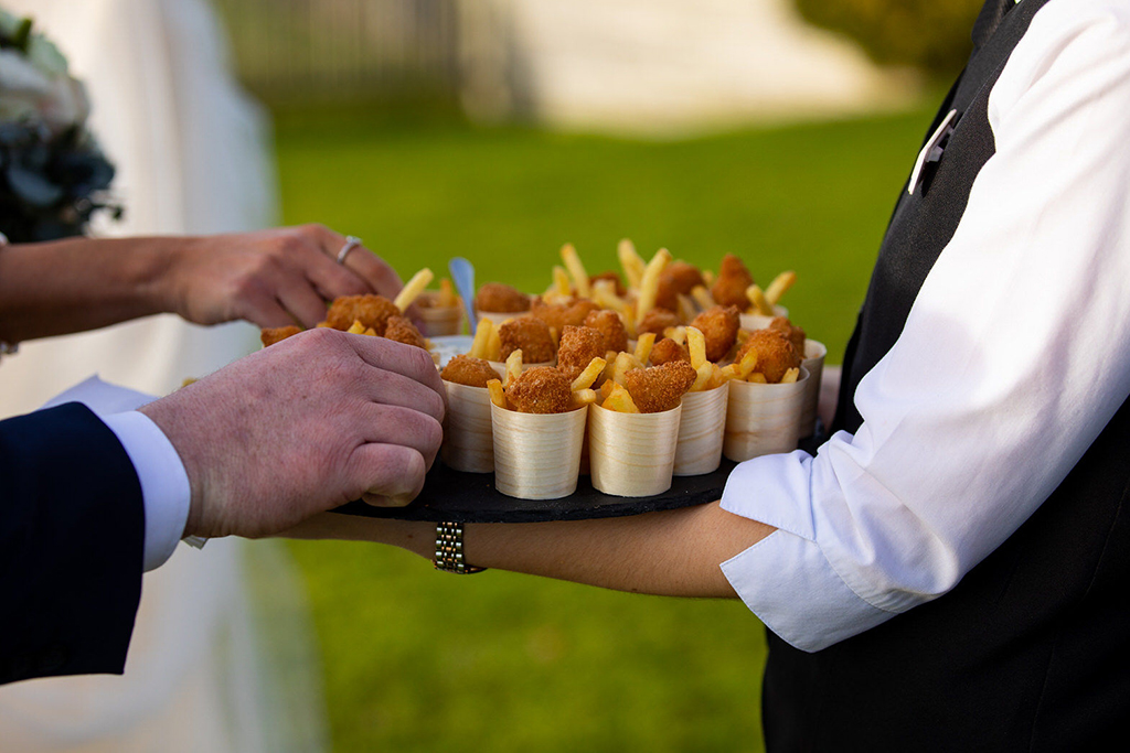 Mini fish and chip cones were served at this wedding in Sandhole Oak Barn