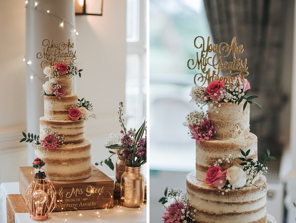 This three-tier wedding cake is just perfect for a rustic barn wedding at Sandhole Oak Barn