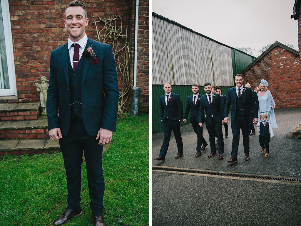 The groom and groomsmen wore navy 3-piece suits and burgundy ties at this winter wedding at Sandhole Oak barn near Manchester