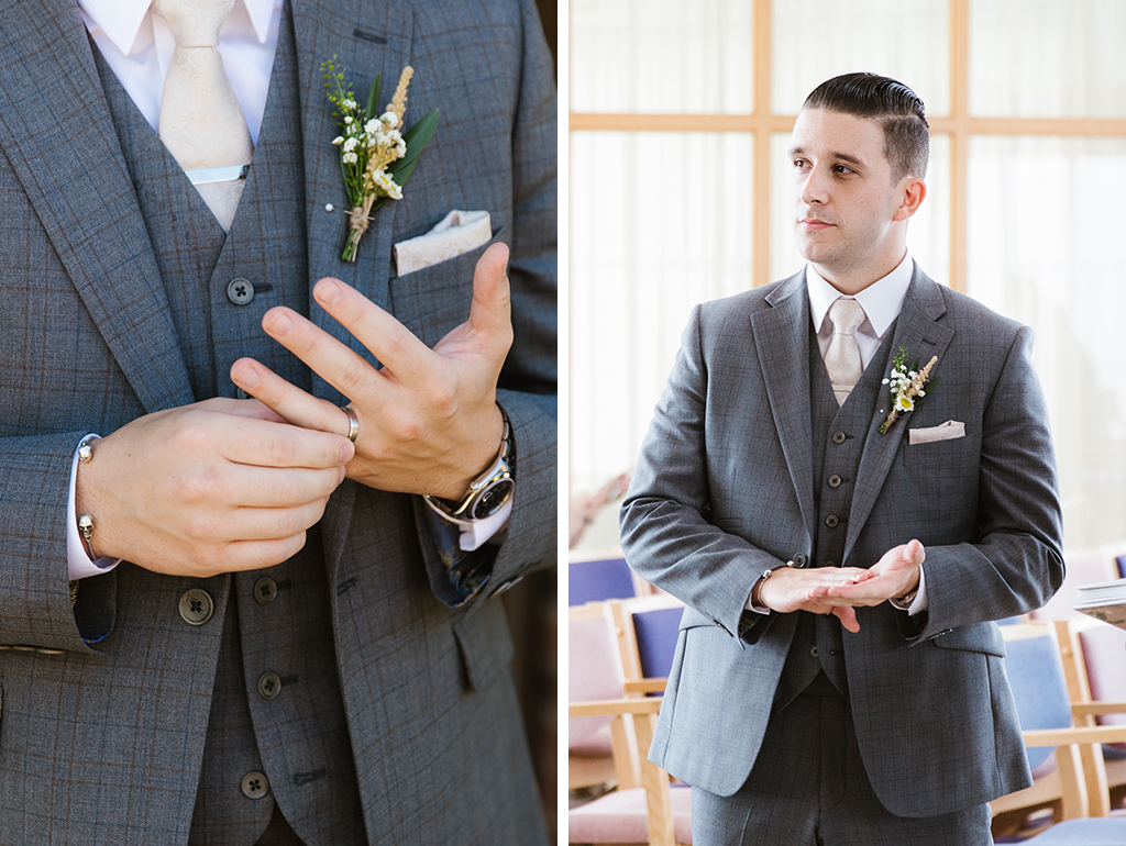 The groom wore a grey check three-piece wedding suit for his wedding at Sandhole Oak Barn near Manchester