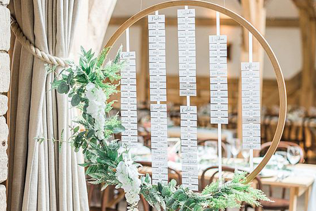 A unique hoop table plan will look perfect at your barn wedding at Sandhole Oak Barn