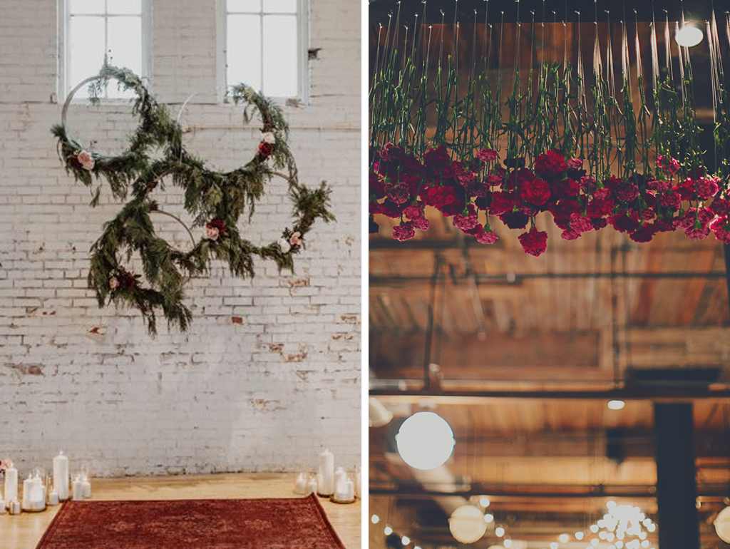 Hang romantic red roses frim the beams of the barn at your rustic wedding at Sandhole Oak Barn in Cheshire