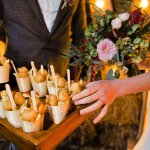 Mini fish and chip cones are the perfect canape choice for your winter wedding menu at Sandhole Oak Barn