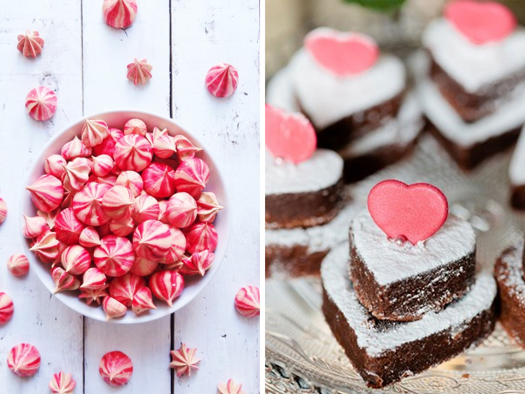 Delicious heart shaped brownies or meringue kisses are perfect treats to serve to your guests at tour romantic wedding At Sandhole Oak Barn