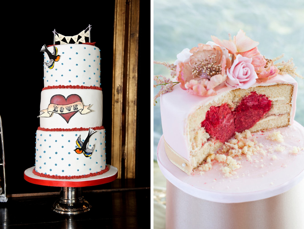 Choose a hand painted cake or hide heart shaped sponges within your cakes for that wow factor at your Sandhole Oak Barn wedding