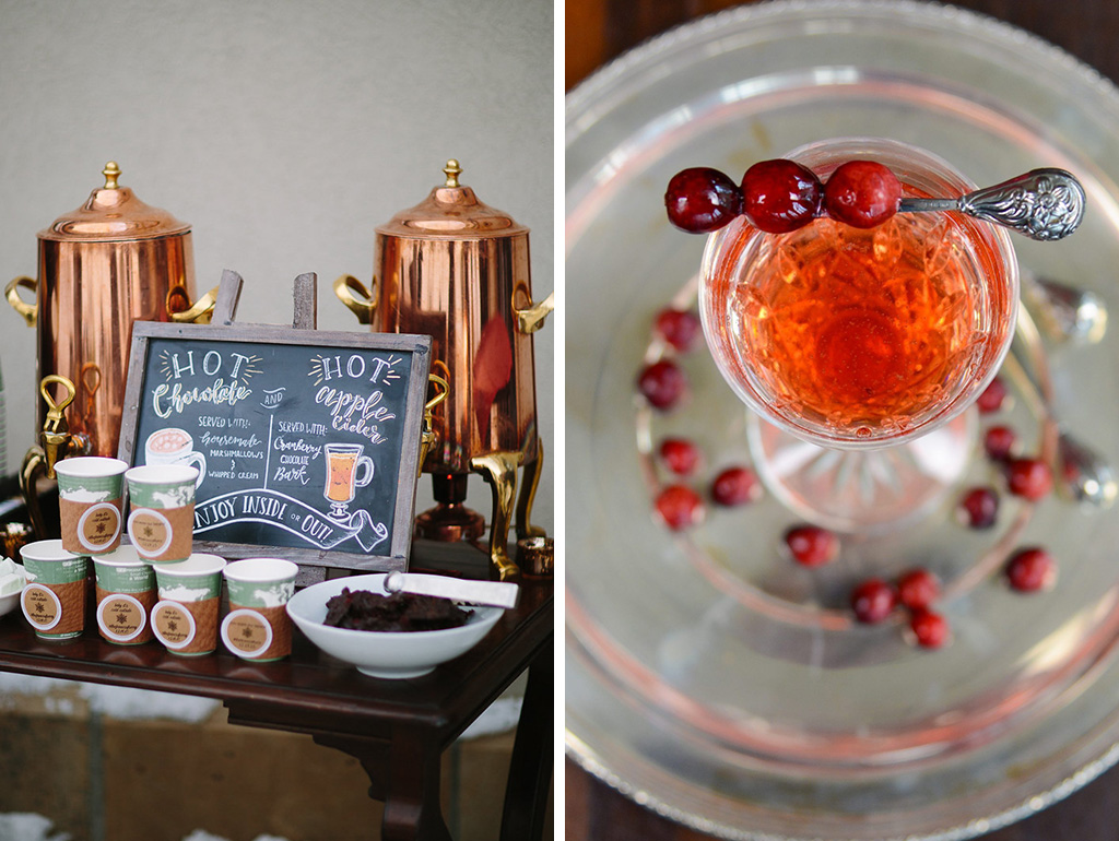 Hot cocktails like boozy hot chocolate and spiced apple cider will keep your guests feeling cosy at your winter barn wedding in the North West