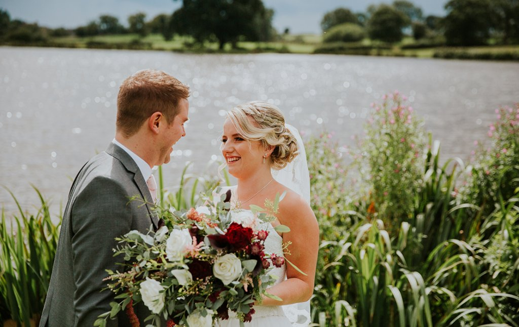 Emily and Kyle celebrate their wedding day at Sandhole Oak Barn wedding venue in Cheshire