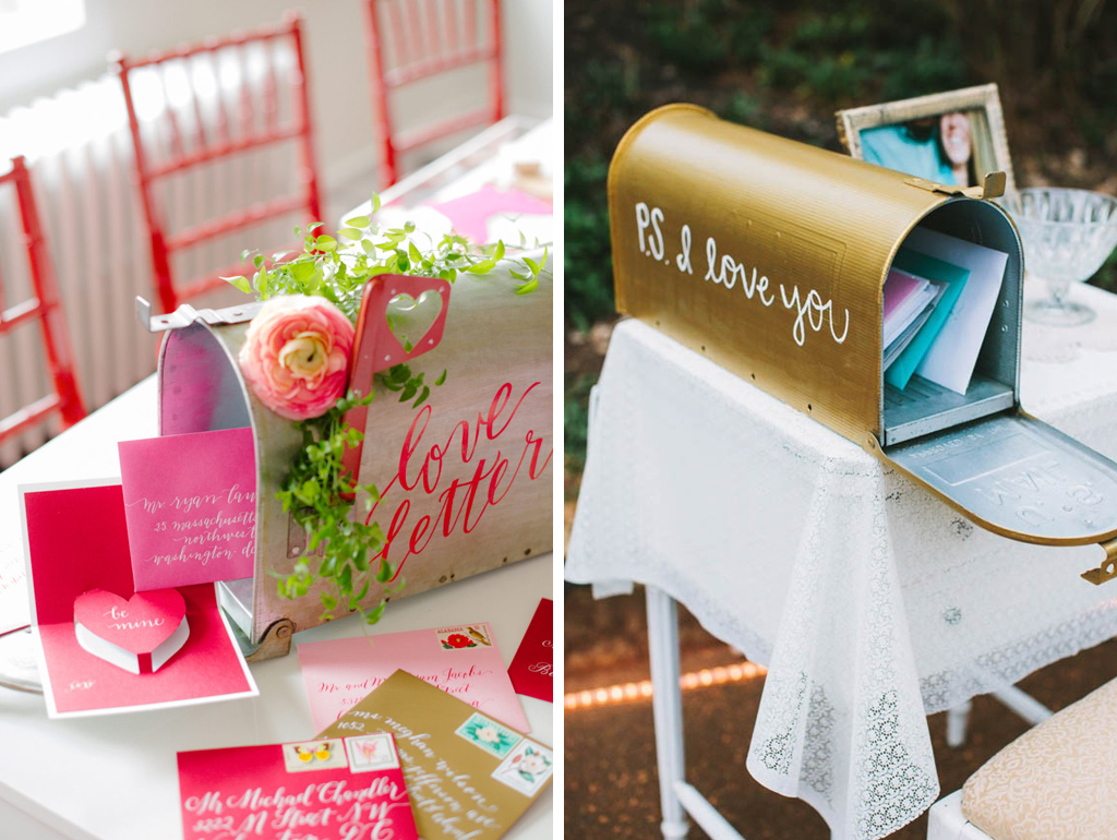 Ask your guests to pop their special messages to you in a pretty letter box at your valentine wedding in Cheshire
