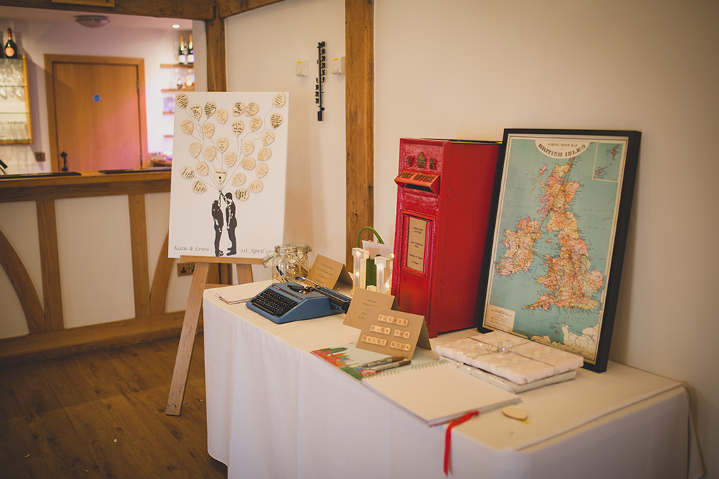 Wedding guests were able to type their wedding wishes on an old typewriter at this Spring wedding at Sandhole Oak Barn