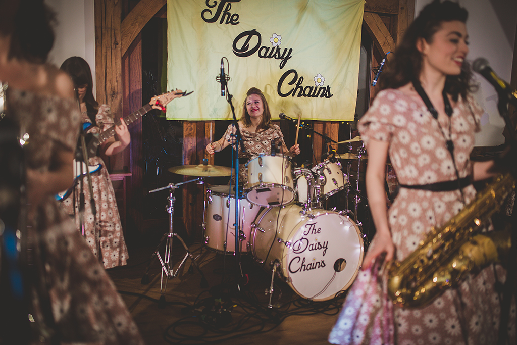 A live band played at the wedding evening reception at this barn wedding in Cheshire
