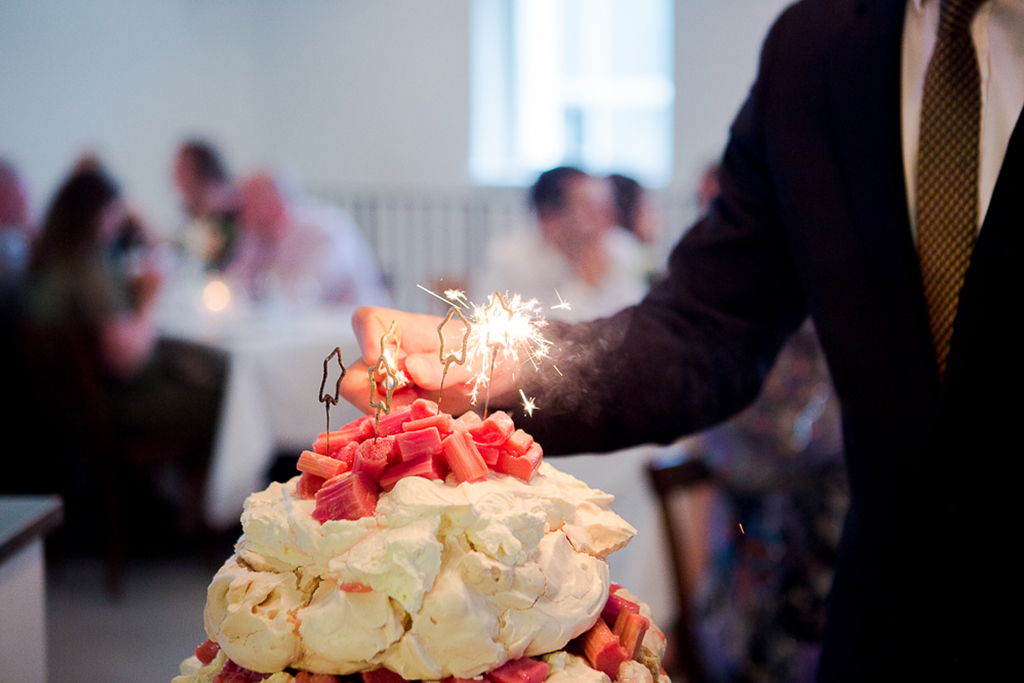 A pavlova wedding cake is a great alternative to the traditional wedding cake for your wedding at Sandhole Oak Barn