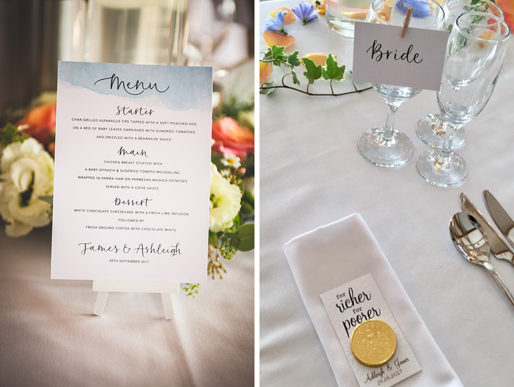 The place settings were simply but elegantly decorated with white printed menus and name cards and chocolate coins as favours at Sandhole Oak Barn in Cheshire