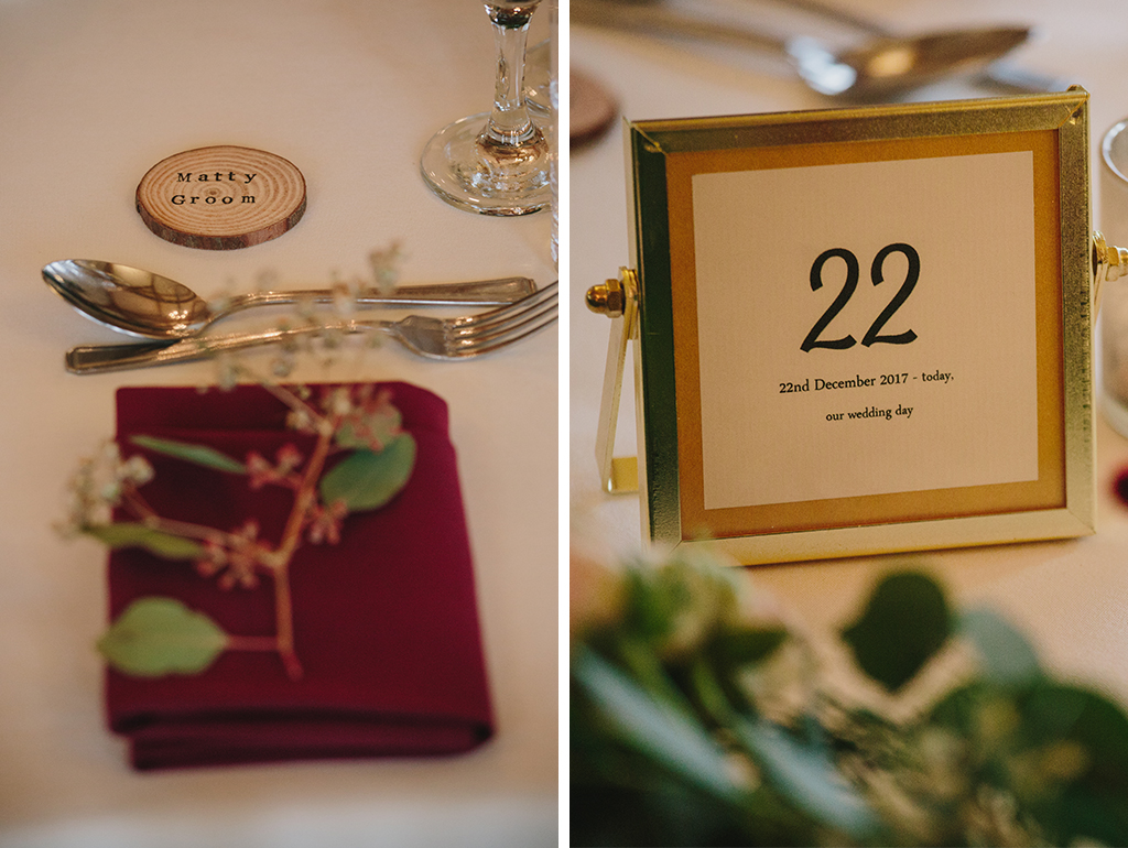Mini wood slices were used as place names and tables numbers were displayed in gold frames at this winter wedding in the North West