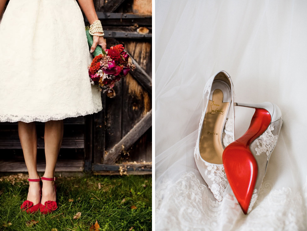 Red shoes are the perfect valentine wedding accessory for your barn wedding at Sandhole Oak Barn
