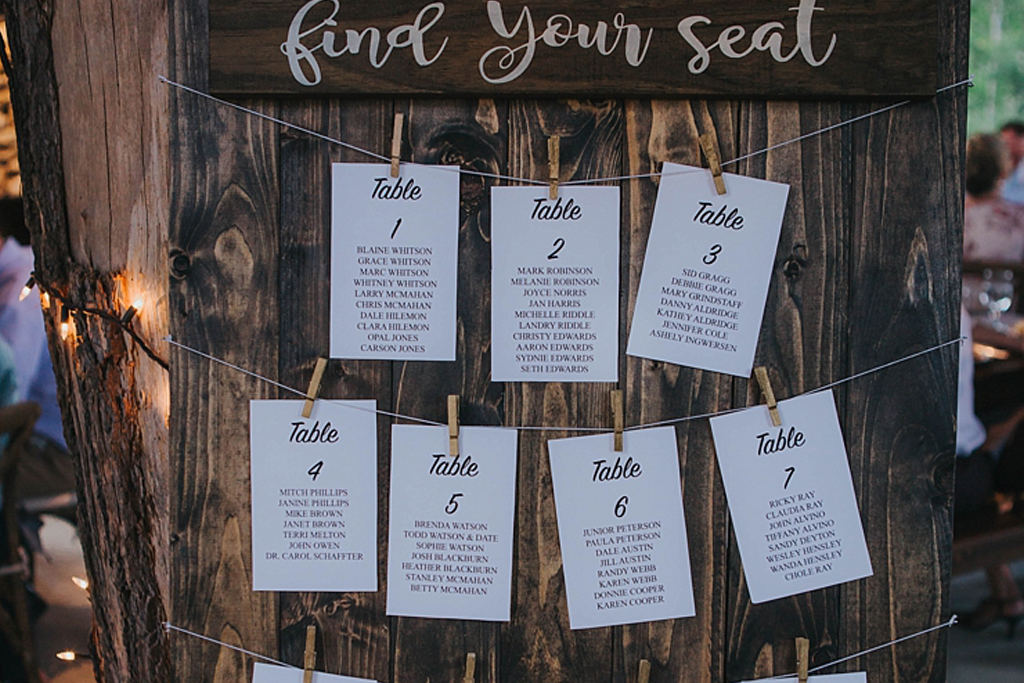 This simple but effective table plan is perfect for a rustic barn wedding