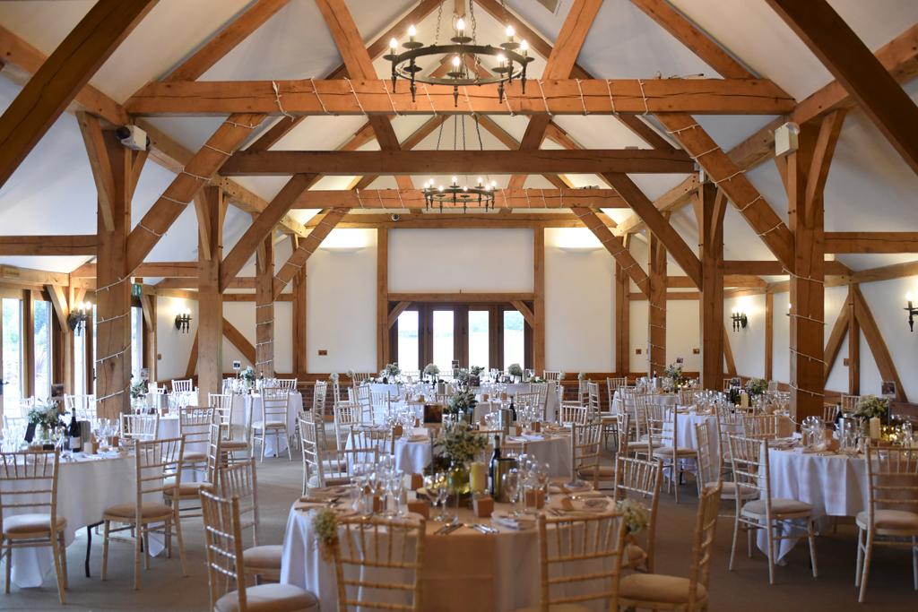 The rustic oak barn at Sandhole Oak Barn wedding venue in Cheshire