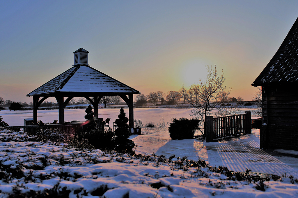 Sandhole Oak Barn in the snow offers the most perfect backdrop for your winter wonderland wedding in Cheshire