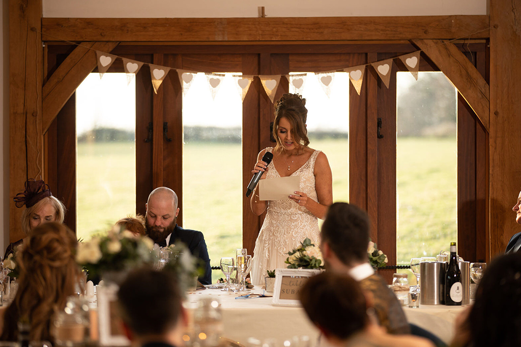 The bride makes her own speech for at the wedding reception at Sandhole Oak Barn Cheshire