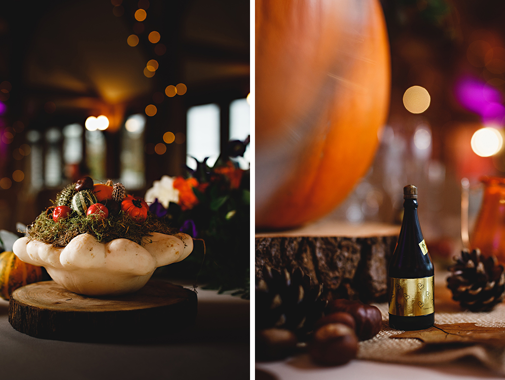Wood slices and seasonal natural items decorated the tables at this Autumn barn wedding in Cheshire