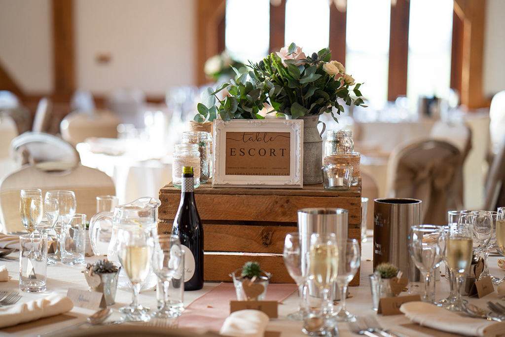 The tables were decorated with rustic wedding decorations at this wedding venue in Cheshire