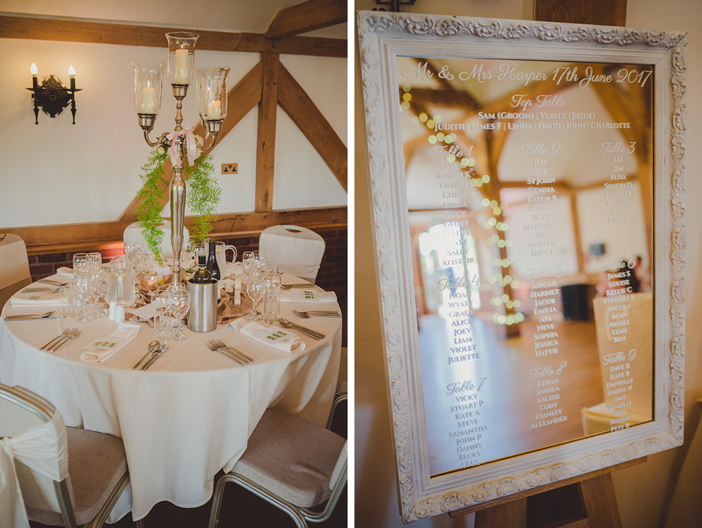 The table plan was printed onto a beautiful framed mirror and tall candelabras were used as centrepieces at this barn wedding