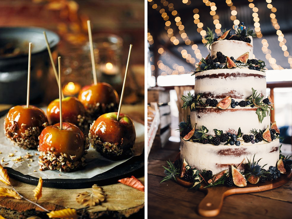 Delicious toffee apples are a perfect autumn wedding favour as well as a semi-naked wedding cake adorned with seasonal fruits