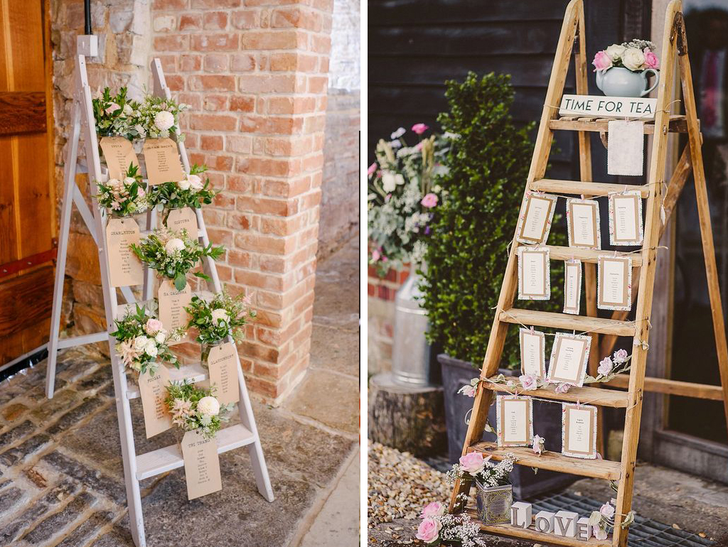 A rustic ladder table plan is a great choice for your barn wedding in Cheshire