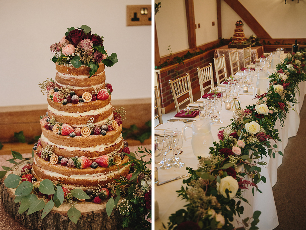 The wedding cake was a four-tier naked sponge decorated with forest fruits and the top table was decorated with garlands of burgundy and pale flowers with lots of pretty foliage