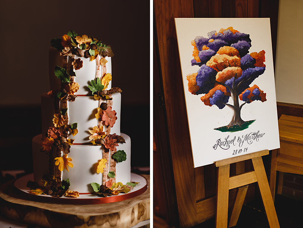 The wedding cake was simply but beautifully decorated with autumnal leaves and the wedding message board was hand painted to match the autumn wedding theme