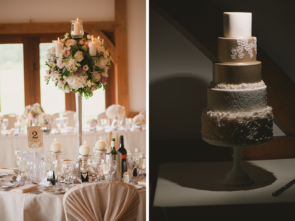 The wedding centrepieces were displayed in tall glass vases and the couple had an impressive five-tier wedding cake!