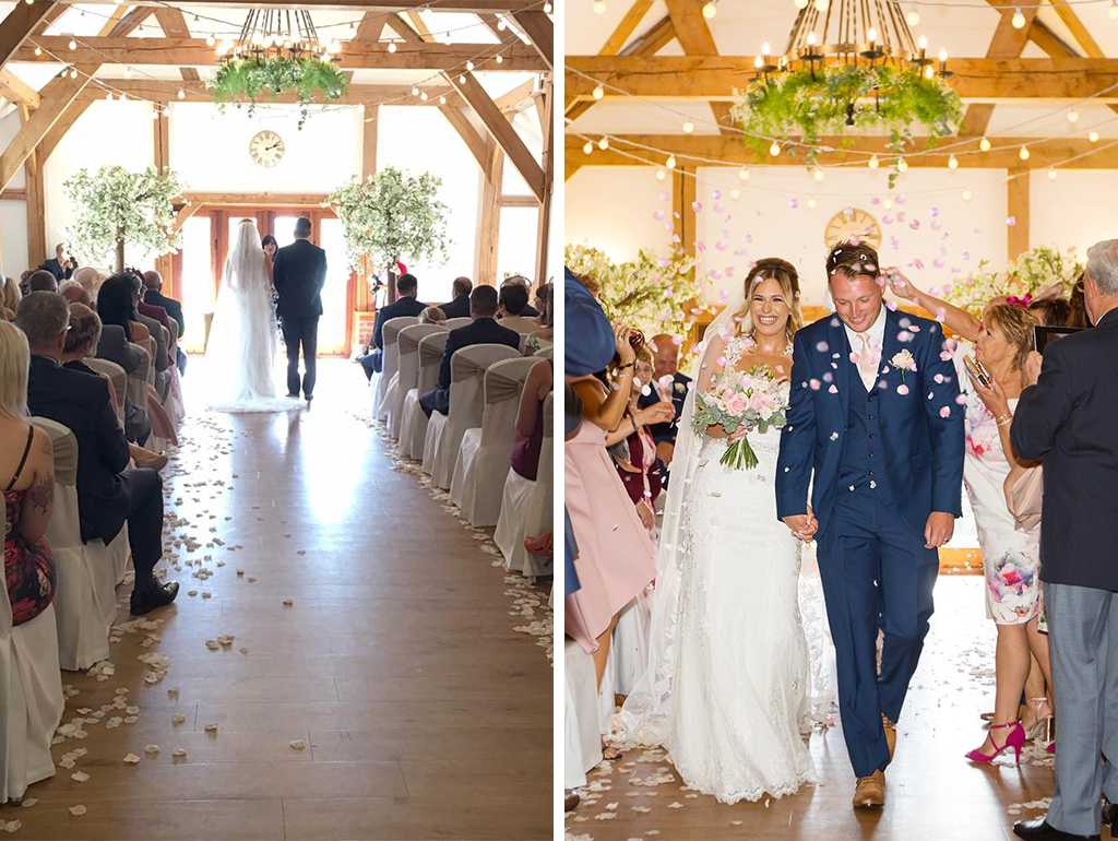 The bride and groom enjoy their wedding ceremony at Sandhole Oak Barn Cheshire