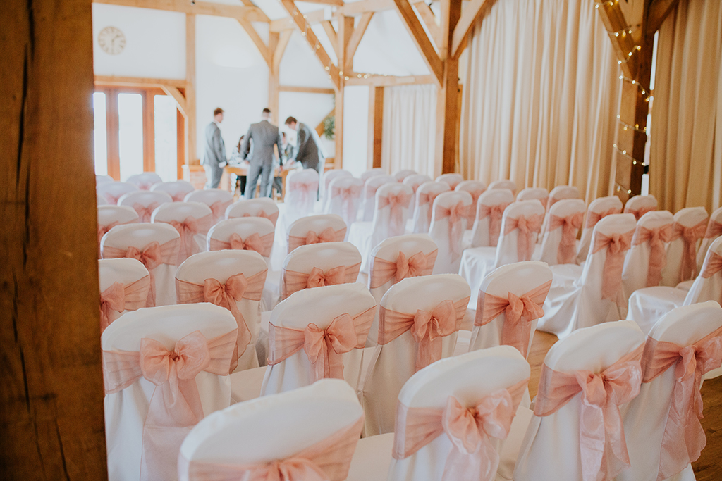 The lakeside barn wedding venue was decorated beautifully for the couple's wedding ceremony