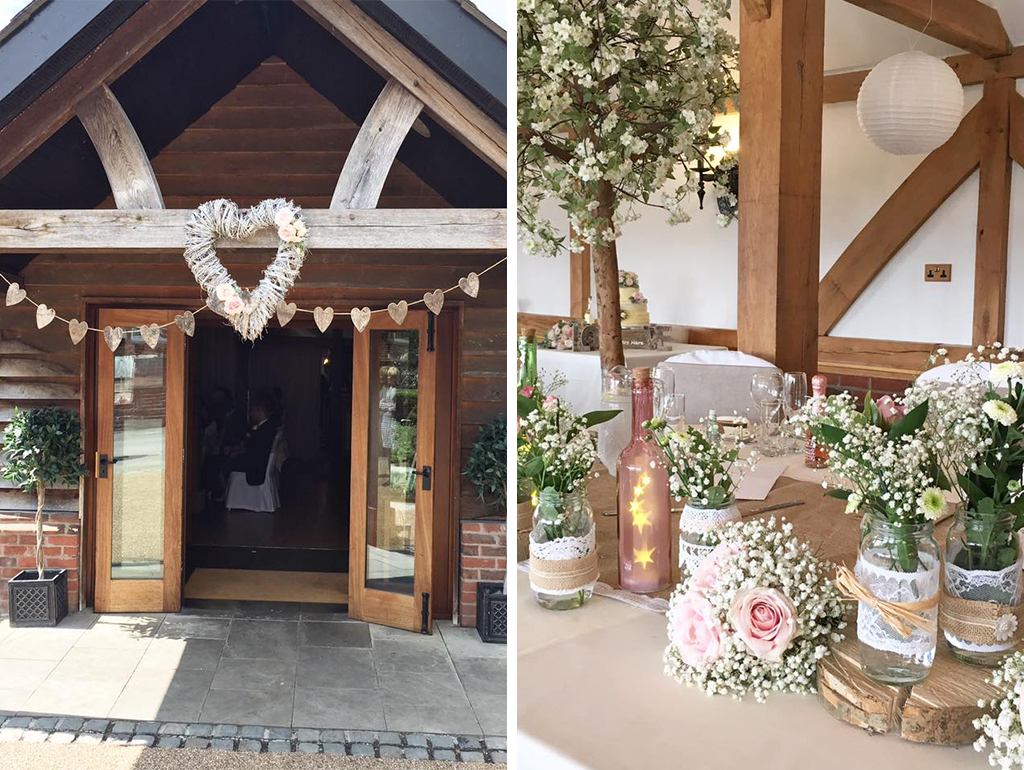 The Cheshire wedding venue was decorated with rustic wedding decoration