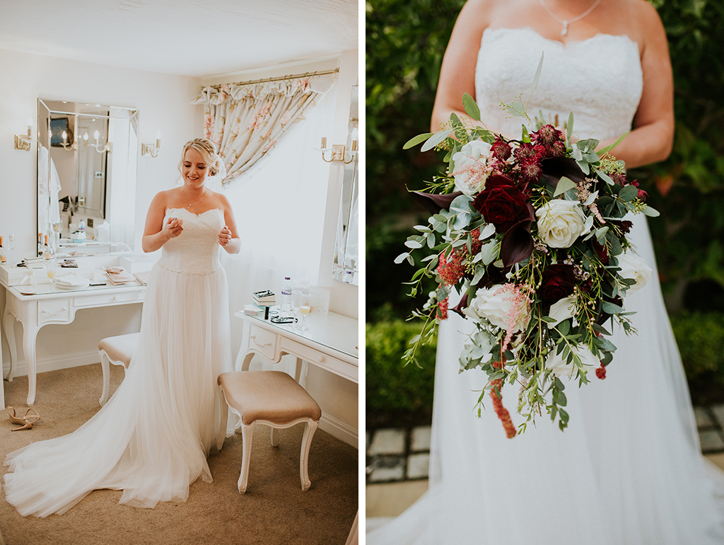 The bride looked stunning in her sweetheart wedding dress made from lace and tulle – wedding dresses