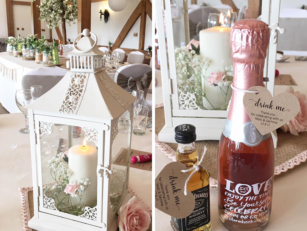 The bride and groom served alcoholic wedding favours for their wedding at Sandhole Oak Bar